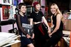 Grrlfriendz band; Toyah Webb, Sophia Lawler-Dormer and Annabel Liddell, in the Real Groovy basement. Photo / NZH