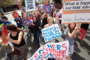 Unlike doctors, lawyers and accountants, who have a professional body in charge, teachers often have to protest to get their message across. Photo / Doug Sherring