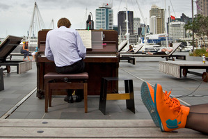 Visitors to Wynyard Quarter on Saturday and yesterday were able to enjoy piano recitals as they relaxed.  Photo / Michael Craig