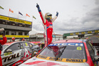 Race winner Jason Bright celebrates after winning Sundays racing of the ITM 400 in Auckland at Pukekohe Park Raceway. Photo / Greg Bowker