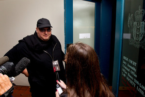 Megaupload founder Kim Dotcom arrives at the High Court in Auckland this morning. Photo / Brett Phibbs