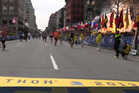 The moment of the first explosion at the Boston Marathon on April 16. Photo / Boston Globe