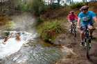 Cycling the new Te Ara Ahi cycle trail, part of the Nga Haerenga National Cycle Trail at Kerosene Creek, Rotorua. Photo / Supplied