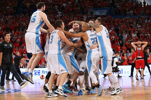The Breakers celebrate their three-peat in Perth. Photo / Paul Kane