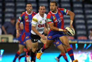 Knights' Tyrone Roberts passes the ball against the Panthers. Photo / Getty Images
