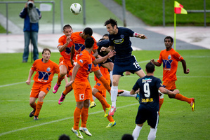 Auckland City's Ivan Vicelich tries to head the ball into the goal during the match against AS Dragon. Photo / Dean Purcell