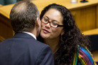 Louisa Wall is congratulated by Labour leader David Shearer. Photo / Mark Mitchell
