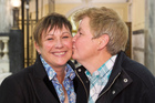 Donna Luxton and Linda Topp celebrate the final reading of the Marriage Amendment Bill at Parliament. Photo / Mark Mitchell