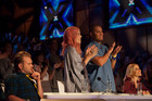Judges Daniel Bedingfield , Ruby Frost , Stan Walker and Melanie Blatt on the set of 'X Factor NZ'. Photo / Supplied