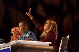 Judge Melanie Blatt on the set of X Factor NZ. Photo / Supplied