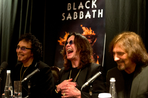 Ozzy Osbourne flanked by Tony Iommi (left) and Geezer Butler in Auckland yesterday. Photo / Brett Phibbs