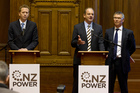 David Shearer (C) with Greens co-leader Russel Norman (L) and former Energy Minister David Parker. Photo / Mark Mitchell