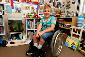 Jaden Movold hopes to raise enough money for a motorised wheelchair. Photo / Michael Craig