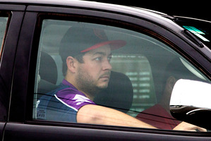 Jesse Ryder snapped driving around Lower Hutt yesterday. Photo / Mark Mitchell