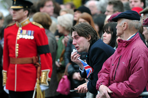 """It's been a lovely day,"" said one woman watching Margaret Thatcher's funeral. Photo / AP"