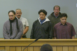 Phillip Kaukasi (first on left) will be released after a parole hearing in July. Photo / Kerry Rodger