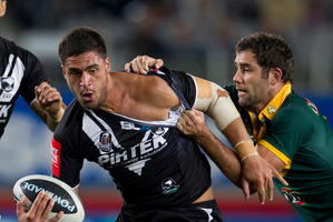 New Zealand Kiwis Jesse Bromwich in action against Australia during last year's Anzac Day test. Photo / Brett Phibbs