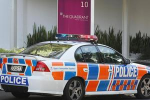 Police at The Quadrant apartments on Waterloo Quadrant in Auckland where Mohammad Hamid-Zadeh killed his flatmate. Photo / Greg Bowker