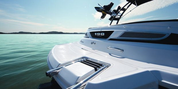 The compact helm design of the Sea Ray 190 gives a clear view of the gauges while the extended swim platform reaches beyond the stern drive. Photo / Supplied
