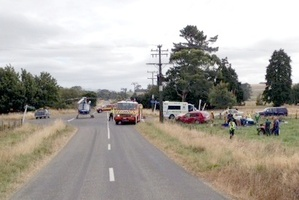 The scene of the crash on South Road No 2, Eketahuna. Photo / Supplied