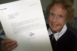 Dawn Wylie-Stichbury, of Greytown, and her letter from Spike Milligan. Photo / APN