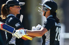 Suzie Bates and Sara McGlashan in action for the White Ferns. Photo / Getty Images