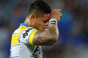Jacob Loko of the Eels looks dejected during the round six NRL match between the Gold Coast Titans and the Eels. Photo / Getty Images