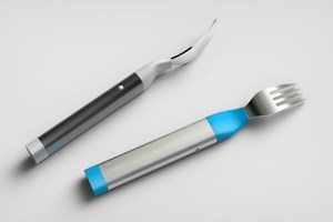 The HAPIfork - an electronic fork that vibrates when you eat too fast.Photo / AFP