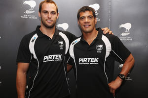 Kiwis coach Stephen Kearney, right, with captain Simon Mannering. Photo / Getty Images