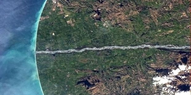 Canadian astronaut Chris Hadfield took this photo of the Waitaki River mouth from the International Space Station.  Photo / Chris Hadfield