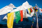 Prayer flags from Kala Pattar in front of Mt Everest. Photo / Thinkstock