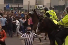 A thug is pictured punching a police horse during violence at the Newcastle Sunderland game on Moday 15th April. Photo / Supplied