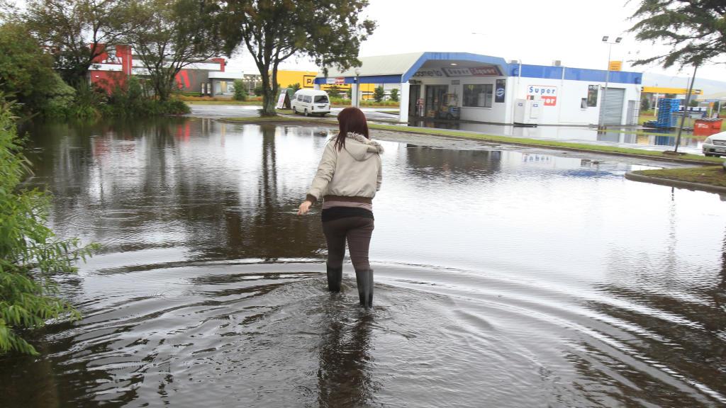 Flooding. Surface flooding at Palm Beach Plaza.
