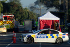 Police block-off Ocean Beach Rd in Mt Maunganui after a man was seriously burned in an explosion. Photo / Alan Gibson
