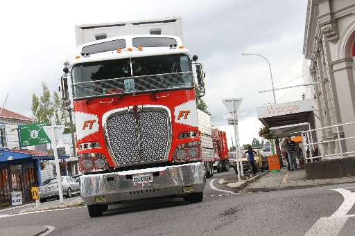 magie b's bi-annual truck run from Masterton's Solway Showgrounds. The truck run is a day out for for clients under Idea Services (IHC) and Autism New Zealand's care, plus members of the community who like trucks. The convey reaches Carterton.