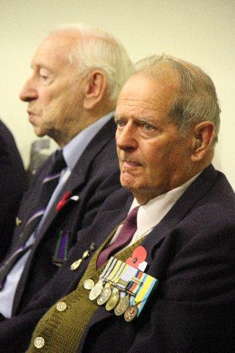 John Lace, Martinborough (left) and Korean War veteran Colin Houghton, Martinborough, at the town hall following Martinborough's dawn Anzac service.