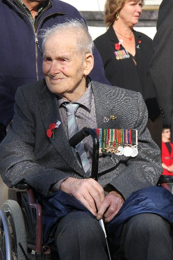World War 2 veteran Bert Alloway, formerly of Featherston, attends the Featherston Anzac Day service (now resides in Greytown).