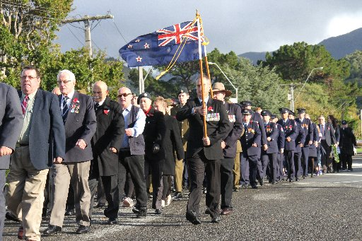 The Anzac Day parade at Featherston.