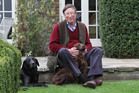Max Hastings with his dogs Jasper and Stanley at his home near Hungerford, Berkshire, Britain. Photo / John Lawrence, Rex Features