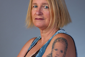 Tracy Mulgrew shows the tattoo of her daughter Jessica. Photo / Miles Hewton