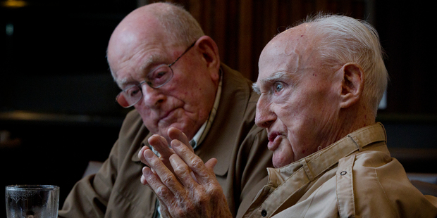 World War II veterans Eric Wilson (left) and Wattie McEwan, both 94, feature in a documentary which will screen on Anzac Day. Photo / Sarah Ivey