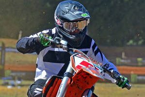Tauranga's Aaron Wiltshier (KTM) is among the title favourites in the 15-16 years' 125cc class. Photo by Andy McGechan, BikesportNZ.com