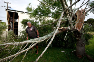 Willie Barlow surveys the damage to his Raglan property. Photo / Dean Purcell.