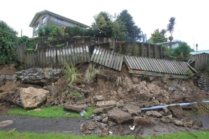 This Princess Rd property suffered the from the heavy when when retaining walls gave way. Photo / Bay of Plenty Times