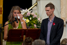 Dave McArtney's children Moana (left) and Gabriel pay tribute to their father at his funeral yesterday. Photo / Sarah Ivey