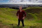 Dave Watson on top of Mt Eden in Auckland this morning. Photo / Sarah Ivey