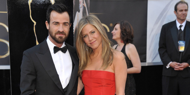 Justin Theroux and Jennifer Aniston. Photo / AP