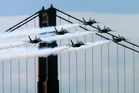 The US Air Force aerobatics team the Blue Angels has been grounded by the cuts. Photo / AP