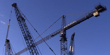 Everything, from Mainzeal's toilet blocks to tower cranes, is being sold off. Photo / Derek Flynn