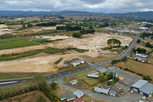 Aerial view of the site of proposed Northgate Business Park development on State Highway One at Te Rapa, outside of Hamilton. Photo / Supplied